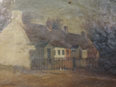 An oil painting, 19th century cottage, 40 x 50cm, framed