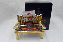 A Royal Crown Derby Garden bench, with box