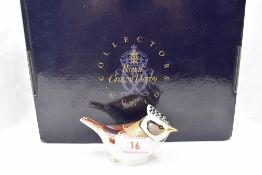 A Royal Crown Derby Collectors Guild Crested Tit paperweight, boxed with gold stopper