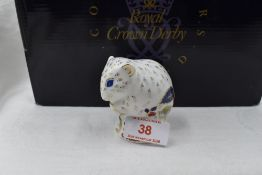 A Royal Crown Derby Collectors Guild Dormouse paperweight, boxed with gold stopper