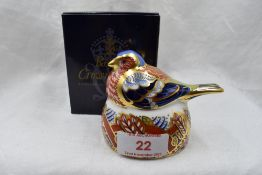A Royal Crown Derby Chaffinch nesting paperweight, boxed with gold stopper