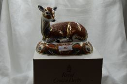 A Royal Crown Derby Collectors Guild Deer paperweight, boxed with gold stopper