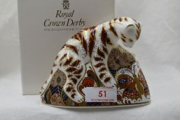 A Royal Crown Derby Bengal Tiger and Cub paperweight, boxed with gold stopper