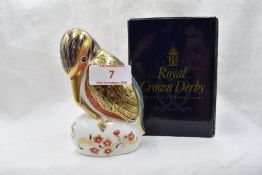 A Royal Crown Derby Kingfisher paperweight, boxed with gold stopper