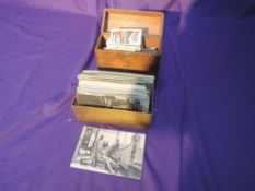 A small collection of Cigarette and Trade Cards and early French Postcards including WW1 cards