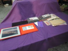 A box of GB First Day Covers and Stamps, World album, British Airways Stamp Packs etc