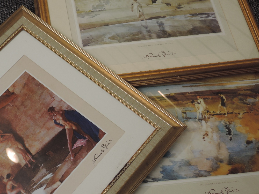 A pair of prints after William Russell Flint, The Sunlit Bastion and On A Golden Beach and a similar