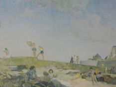 A signed print after William Russell Flint, Beach scene, signed, 39 x 63cm