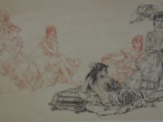 A print after William Russell Flint Gypsy Ladies in Conversation, signed 40 x 70 cm framed and