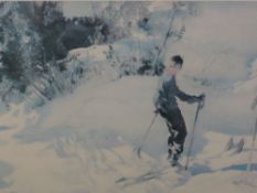 A limited edition print after William Russell Flint, Skier numbered 297/850 27 x 36cm, 57 x 43cm