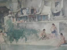 A print after William Russell Flint Bathers signed 50 x 67 cm framed and glazed