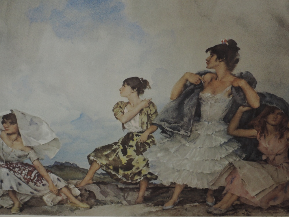 A print after William Russell Flint, The Shower signed, 57 x 43cm framed and glazed
