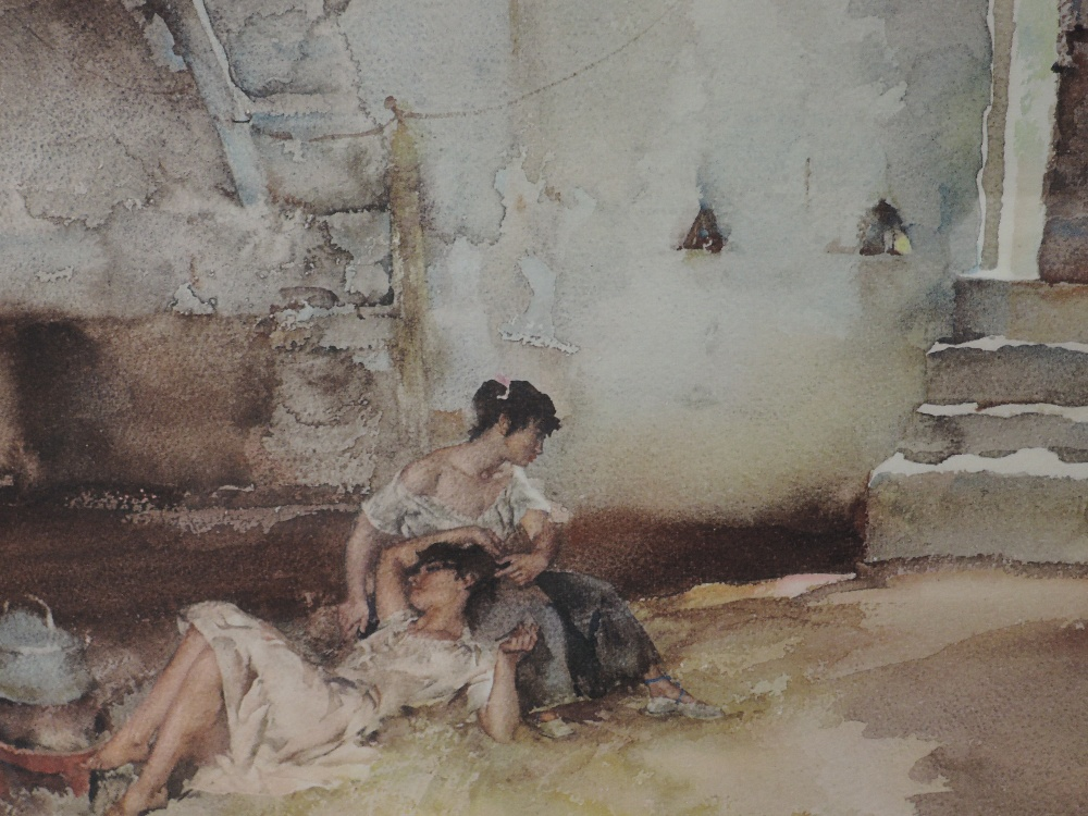 A print after William Russell Flint Girls resting in barn signed 50 x 60 cm