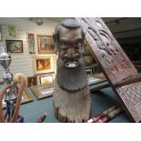 A large standing heavy ethnic wood carved African head possibly Zulu 66cm tall