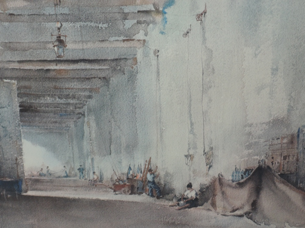 A signed print after William Russell Flint, Cloisters signed 50 x 66cm,