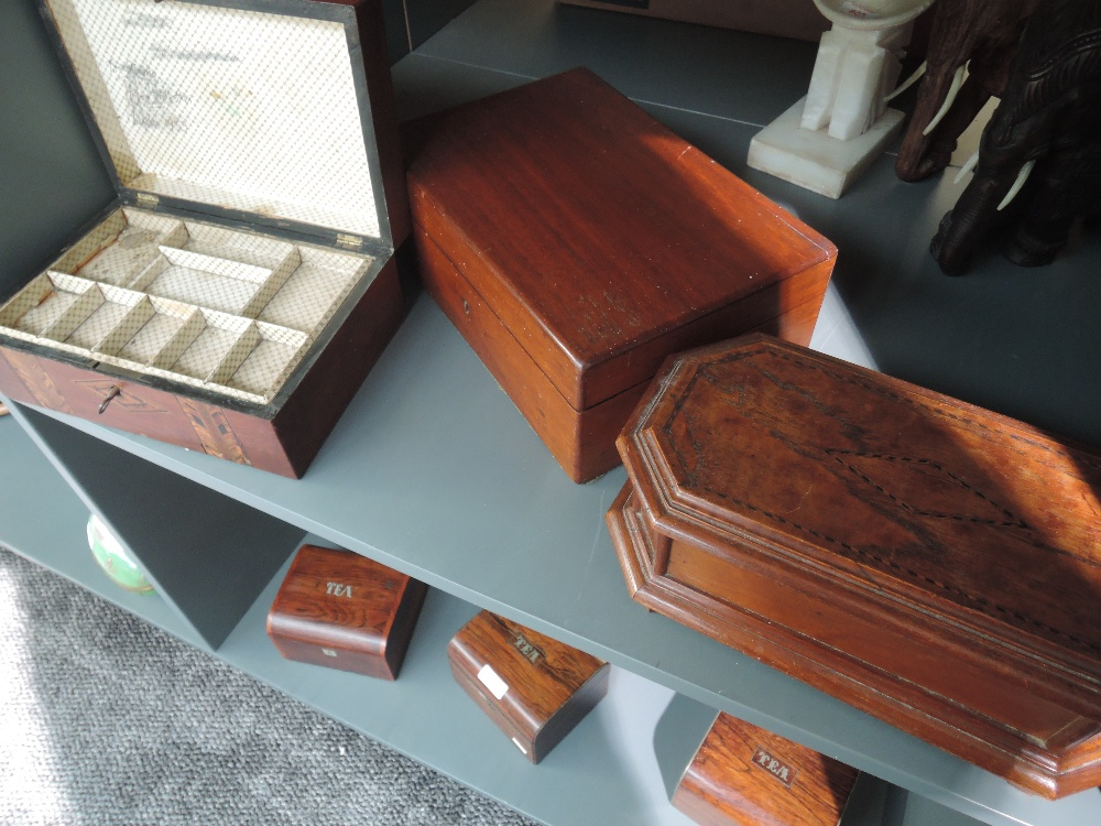 A selection of writing compendium and jewellery boxes including inlayed veneers