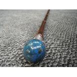 A bamboo walking cane with HM knopp ( marks worn ) holding polished ball handle Lapis Lazuli
