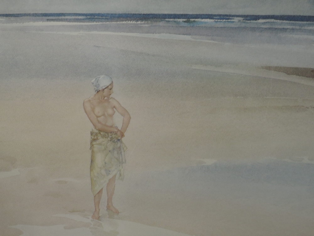 A limited edition print after William Russell Flint Lady On Beach 65/850 signed 50 x 67 cm framed