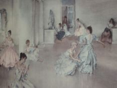 A print after William Russell Flint, Dressing For The Operata, signed framed and glazed 40 x 67cm