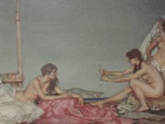 A print after William Russell Flint The Silver Mirror signed 30 x 46 cm framed and glazed