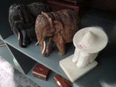 Two heavy ethnic wood hand carved Indian tribal Elephants and similar stone/ marble figure