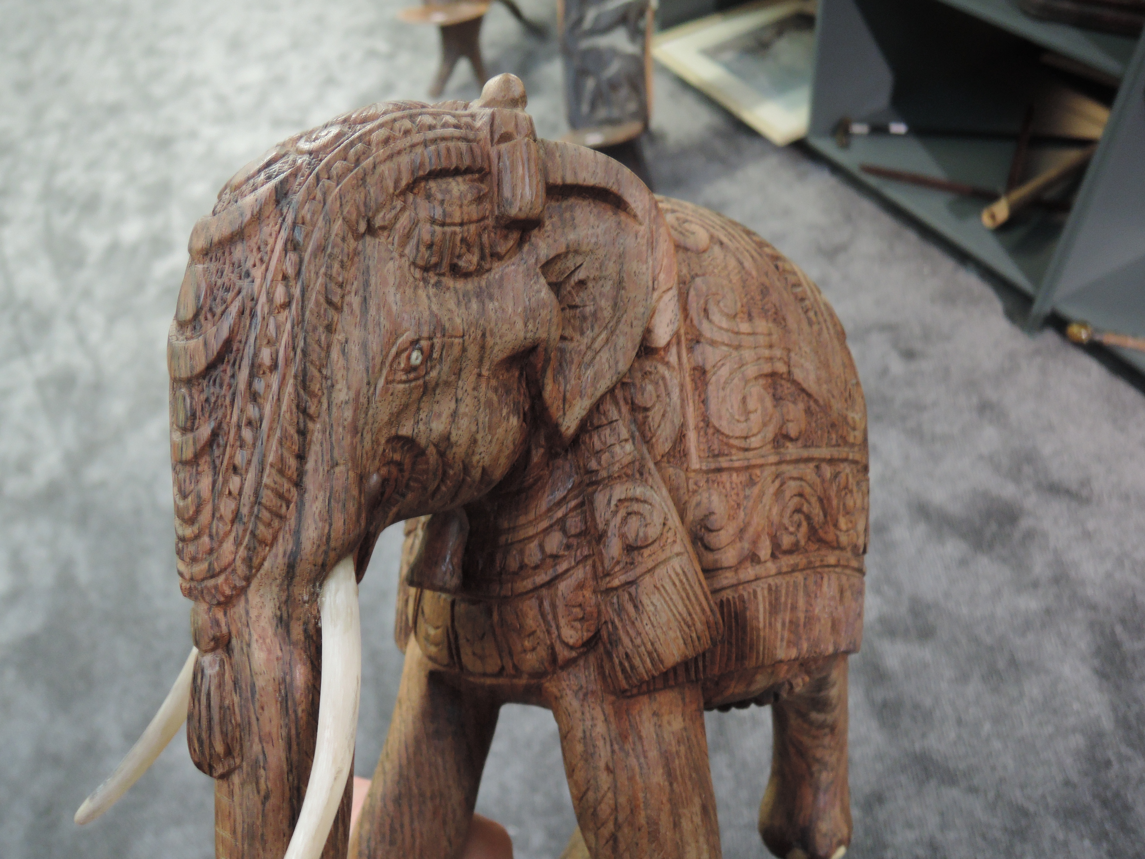 Two heavy ethnic wood hand carved Indian tribal Elephants and similar stone/ marble figure - Image 2 of 3
