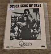 A rare piece of sheet music for 'The seven seas of rhye'