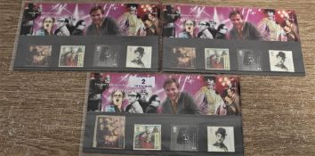 Three sets of Royal mail millennium postage stamps for June 1999, which include a Freddie Mercury