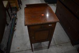 An Edwardian mahogany pot cupboard, bit scuffed round edges, width. approx. 40cm