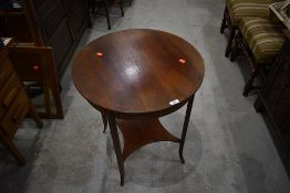 An Edwardian mahogany and inlaid circular occasional table, diameter approx. 58cm