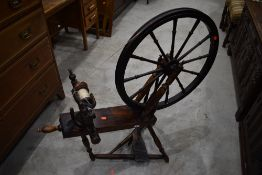A traditional spinning wheel