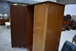 A vintage stag double wardrobe in light stain, width approx. 128cm