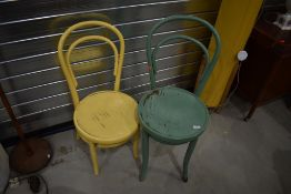Two vintage painted bentwood chairs