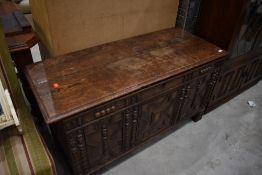 A period oak three panelled kist , nice proportions, width approx. 122cm