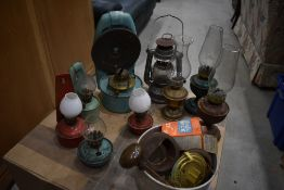 A selection of vintage oil lamps