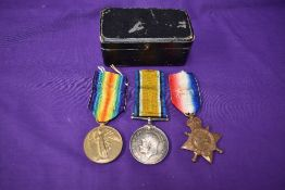 A Trio of WW1 Medals to 22567 PTE A Thacker Bord R, 1914-15 Star, Victory Medal and War Medal in