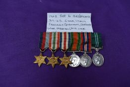 A group of miniature RAF WW2 Medals, 39-45 Star, Italy Star, France Germany Star, Defence Medal, War