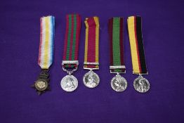 A collection of five Miniature Medals, Kabul to Kandahar Star, China Medal 1900 (boxer rebellion),