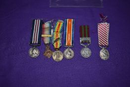 A collection of six Miniature Medals, Military Medal George V Uncrowned Head, 1914 Star 5th Aug 22nd