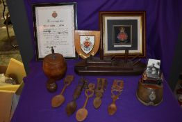 A collection of treen including wooden Battleship, Tobacco Jar with 1916 Shell base, Horse Shoe
