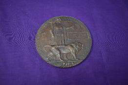 A Bronze WW1 Memorial Plaque, named for Albert Edwin Vain