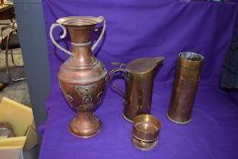 A collection of WW1 Brass and Copper Trench Art including Ash Tray made from German Battleship