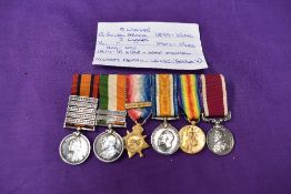 A group of six miniature medals, Queen South Africa Medal with five clasps, Laings Nek, Transvaal,