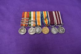 A group of six miniature medals, Queen South Africa Medal with three clasps, Transvaal,