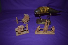 Four pieces of Asian Art, a model of a fish made out of horn on brass stand, Saigon 1943, three
