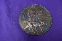 A Bronze WW1 Memorial Plaque, named for Albert Gill