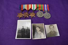 A WW2 group of Medals with photo's , 1939/45 Star, Africa Star, Italy Star, Defence Medal and War