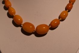 A short string of graduated butterscotch amber of oval form, approx 18' & approx 33.9g