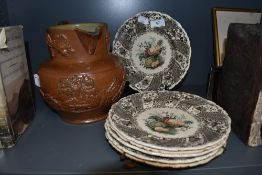 A collection of plates,fruit basket by W.Smith and co, marked Wedgewood to underside, also