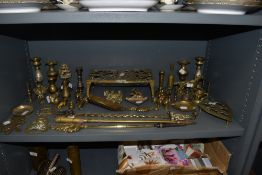A large collection of brass including trivets,horse brasses,animal figures,vases and more.